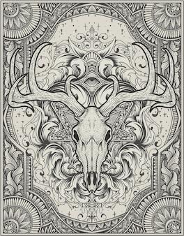 Cranio di cervo di illustrazione con stile monocromatico ornamento incisione