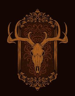 Illustrazione teschio di cervo con ornamento incisione vintage