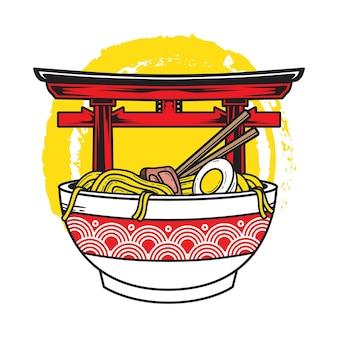 Illustrazione di deliziosi spaghetti ramen giapponesi sulla ciotola con sfondo torii gate