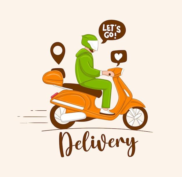 Illustrazione del ragazzo delle consegne in sella a uno scooter