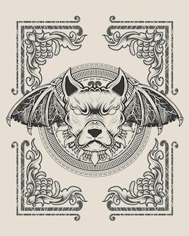 Illustrazione testa di cane demone stile monocromatico