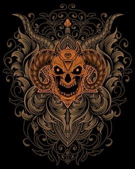 Illustrazione testa di teschio demone con ornamento incisione antica