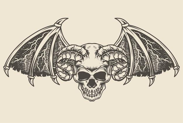 Illustrazione demone cranio stile monocromatico