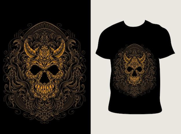 Illustrazione teschio demone con stile ornamento incisione