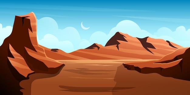 Illustrazione della valle del deserto con varie montagne rocciose e colline con cielo chiaro di luna