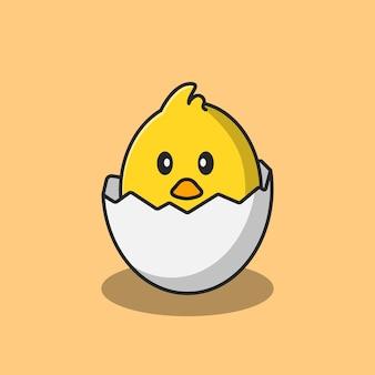 Il disegno illustrativo di un pulcino appena nato e ancora all'interno del guscio d'uovo