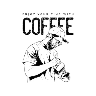 Disegno dell'illustrazione della caffettiera