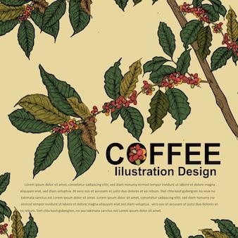 Disegno dell'illustrazione per il manifesto del caffè