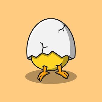 Disegno illustrativo di un pulcino appena nato e la sua testa è ricoperta di gusci d'uovo