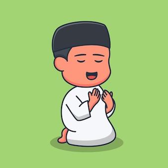 Disegno dell'illustrazione di un ragazzo musulmano che prega