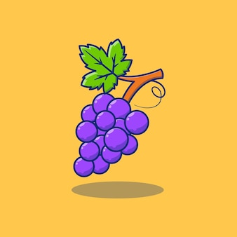 Disegno dell'illustrazione di un rametto di deliziosa uva fresca concetto di design di frutta isolato premium