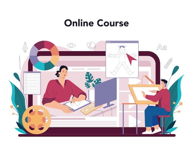 Servizio online di designer di illustrazioni o immagine di disegno dell'artista della piattaforma
