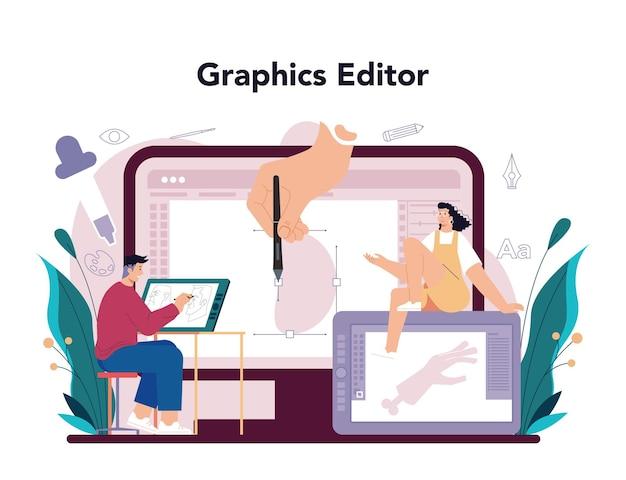 Servizio o piattaforma online per designer di illustrazioni Vettore Premium