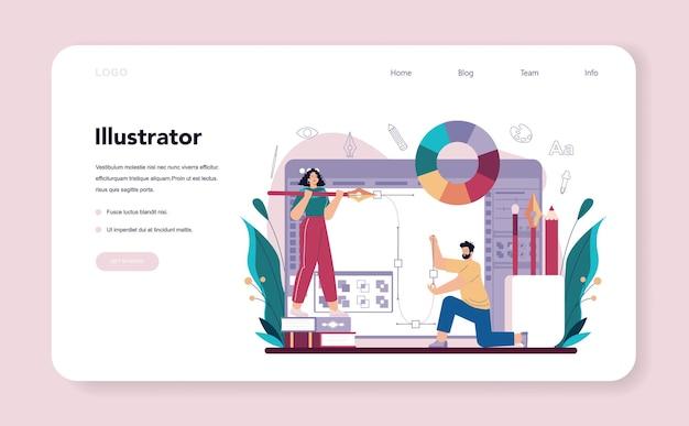 Banner web designer di illustrazione o pagina di destinazione. artista che disegna foto per libri e riviste, illustrazioni digitali per siti web e pubblicità. professione creativa. illustrazione vettoriale piatta