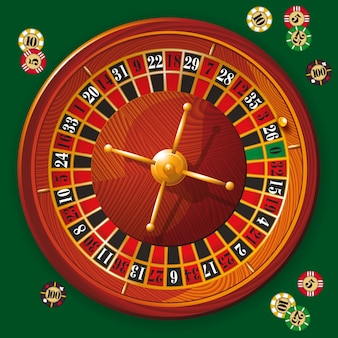 Illustrazione della ruota della roulette del casinò dettagliata con e fiches da poker.