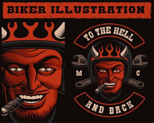 Illustrazione di un motociclista diavolo in casco con chiavi incrociate. di una toppa da moto, perfetta anche per le stampe delle camicie.