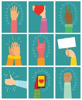 Illustrazione di diverse mani in alto. concetto di unità, protesta, amore, pasqua, smartphone, amicizia, rivoluzione, lotta, cooperazione. disegno di contorno piatto