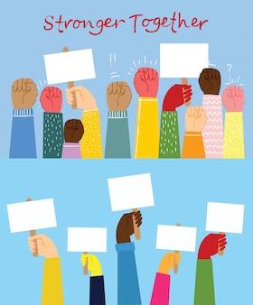 Illustrazione di diverse mani in alto. concetto di unità, protesta, rivoluzione, lotta, cooperazione. disegno di contorno piatto
