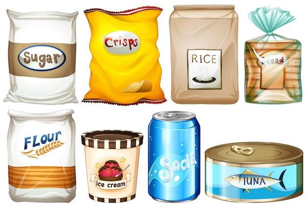Illustrazione dei diversi tipi di alimenti su uno sfondo bianco