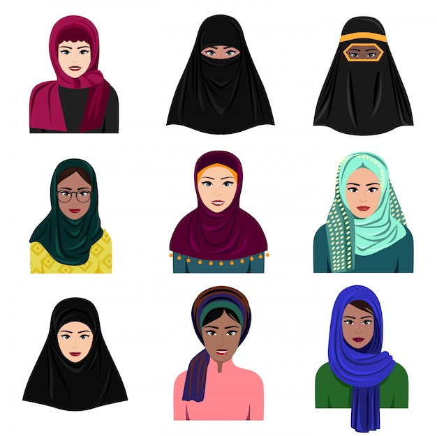 Illustrazione di diversi personaggi di donne arabe musulmane in set di icone hijab. donne etniche arabe saudite islamiche in abbigliamento tradizionale in stile piano isolato su priorità bassa bianca.
