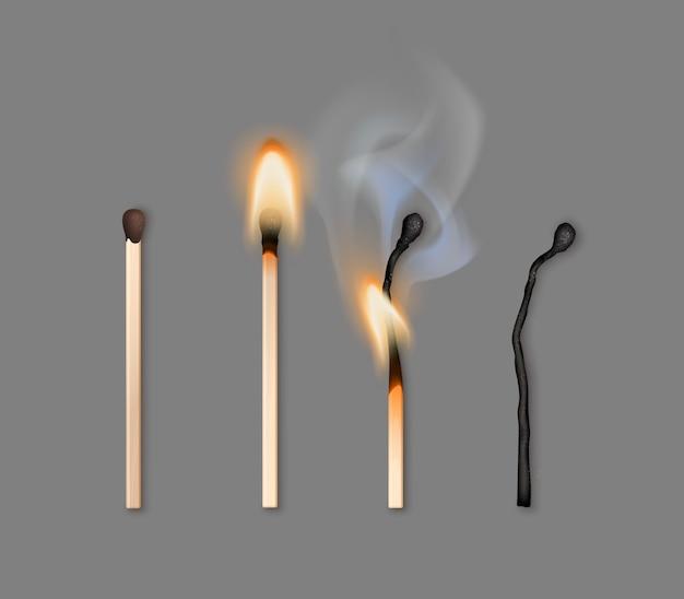 Illustrazione delle diverse fasi di bruciare i fiammiferi
