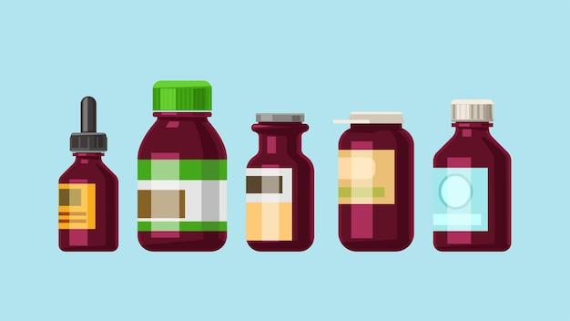 Illustrazione di diverse forme di bottiglie di colore marrone medicina