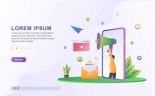 Illustrazione di marketing digitale e pubblicità con icone megafono ed e-mail
