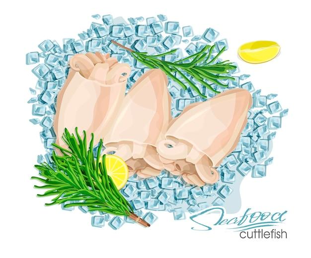 Illustrazione di un piatto di seppie con limone e rosmarino su cubetti di ghiaccio