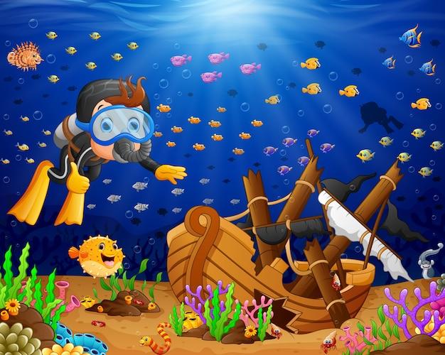 Illustrazione dell'operatore subacqueo sotto il mare