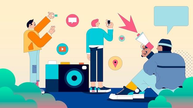Illustrazione di persone diverse sui social media vettore