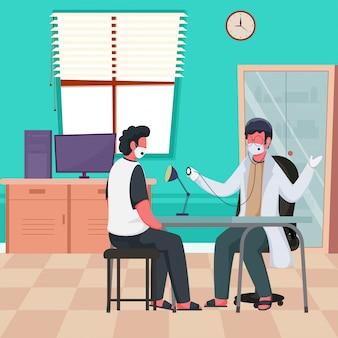 Illustrazione di doctor man checkup al paziente dallo stetoscopio presso la clinica durante la pandemia di coronavirus.