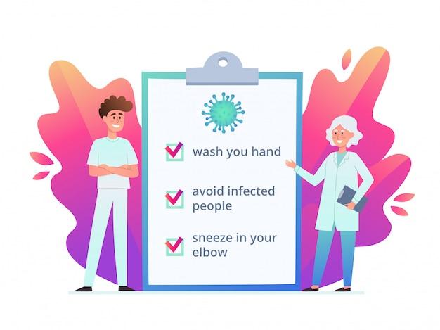 Illustrazione di medici sulla misura di prevenzione da coronavirus