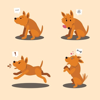 Illustrazione della posa del carattere del cane