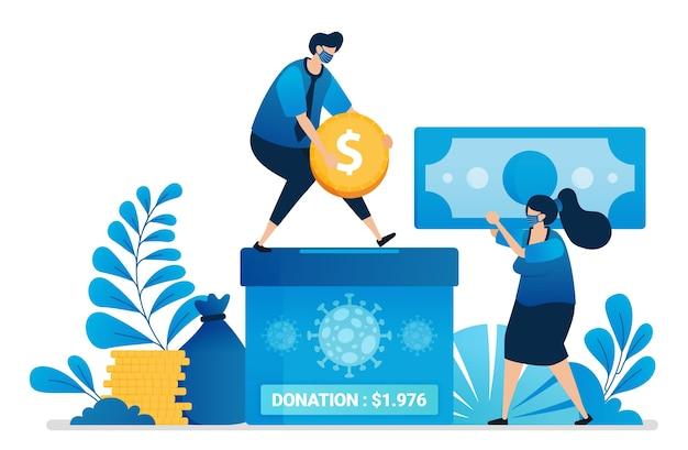Illustrazione della donazione di denaro