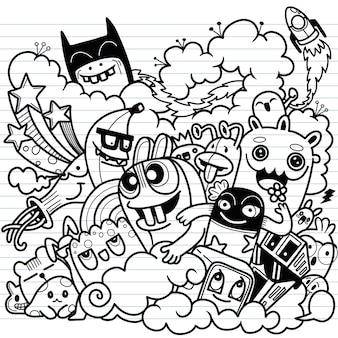 Illustrazione di doodle carino, insieme doodle di mostro divertente