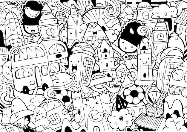 Illustrazione del paesaggio urbano di londra doodle in stile cartone animato