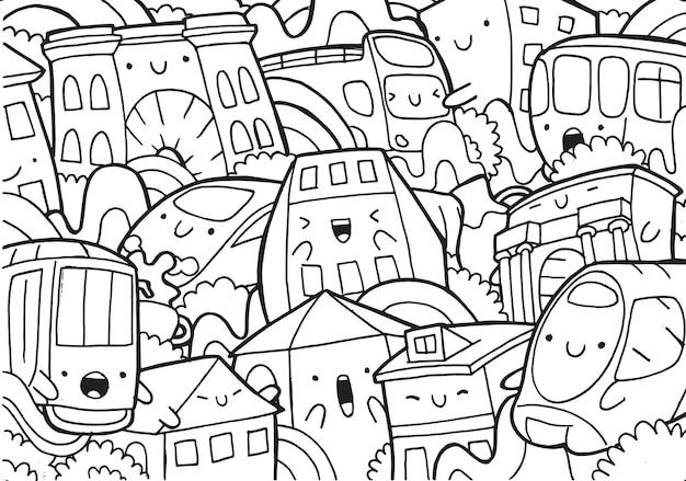 Illustrazione del doodle paesaggio urbano di milano in stile cartone animato