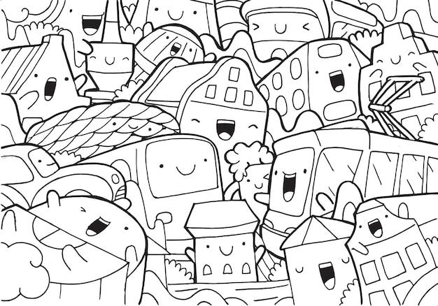 Illustrazione del doodle paesaggio urbano di monaco di baviera in stile cartone animato