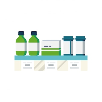 Illustrazione dello scaffale della droga o vetrina con gocce di bottiglie di pillole di medicinali e compresse. compresse con cartellini dei prezzi.