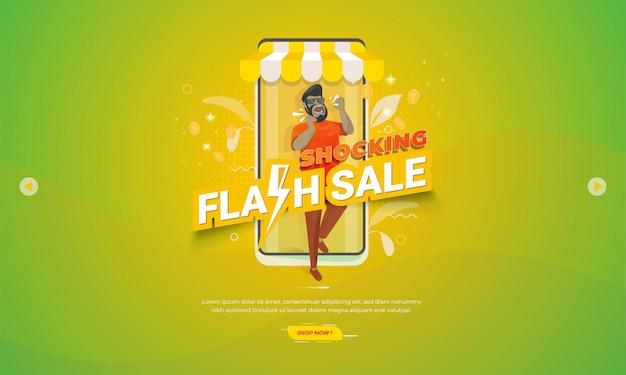 Illustrazione per banner di promozione e-commerce con scioccante concetto di vendita flash