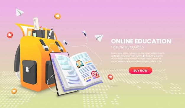 Illustrazione del banner di e-learning con borsa, libro e cellulare per corsi web o concetto di tutorial.