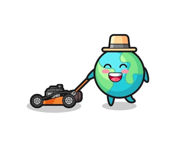 Illustrazione del personaggio della terra con tosaerba, design in stile carino per t-shirt, adesivo, elemento logo