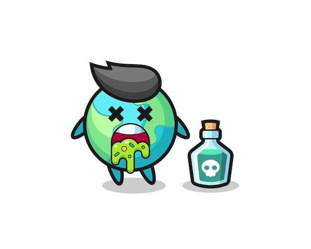 Illustrazione di un personaggio terrestre che vomita a causa di avvelenamento, design in stile carino per maglietta, adesivo, elemento logo,