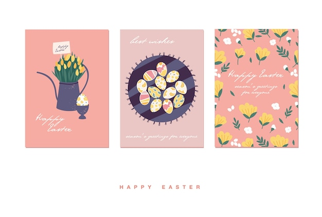 Illustrazione per le vacanze di pasqua. bouquet di bellissimi fiori in annaffiatoio e uova pattern, torta di pasqua.