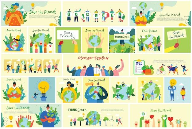 Illustrazione sfondi eco del concetto di energia ecologica verde e preventivo salva il pianeta, pensa al verde e ricicla i rifiuti