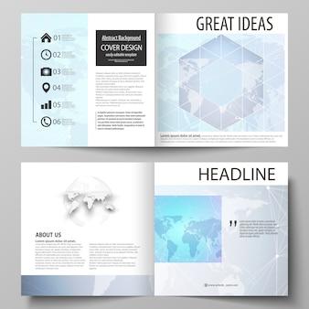 L'illustrazione del layout modificabile di due modelli di copertine per brochure, riviste, flyer, libretto, design quadrato, pieghevole.