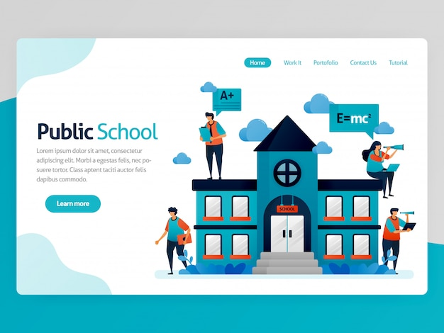 Illustrazione per landing page istruzione. edifici e luoghi di lavoro delle scuole pubbliche, borsa di studio dell'istruzione online, apprendimento moderno, piattaforma di formazione e-learning