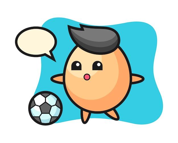 L'illustrazione del fumetto dell'uovo sta giocando a calcio, progettazione sveglia di stile per la maglietta, l'autoadesivo, elemento di logo