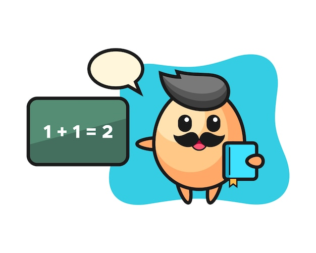 Illustrazione del personaggio uovo come insegnante, design in stile carino per t-shirt, adesivo, elemento logo