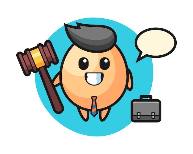 Illustrazione della mascotte dell'uovo come avvocato, design in stile carino per t-shirt, adesivo, elemento logo